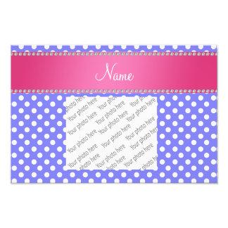 Personalized name purple polka dots pink stripe photographic print