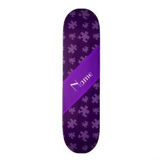 Personalized name purple puzzle 20.6 cm skateboard deck