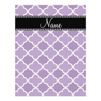 Personalized name Purple quatrefoil pattern Flyers