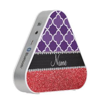 Personalized name purple quatrefoil red glitter bluetooth speaker