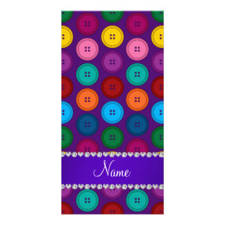 Personalized name purple rainbow buttons pattern photo card