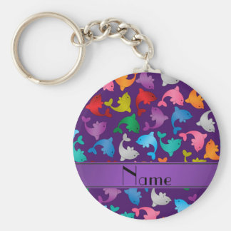 Personalized name purple rainbow dolphins basic round button key ring
