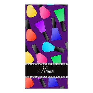 Personalized name purple rainbow nail polish photo card