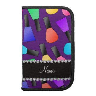 Personalized name purple rainbow nail polish folio planner