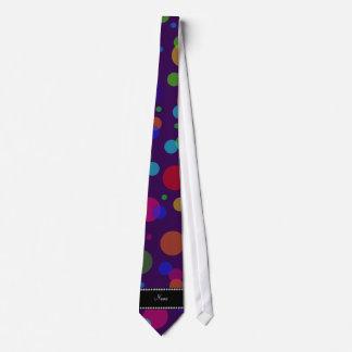 Personalized name purple rainbow polka dots tie