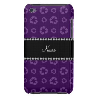 Personalized name purple recycling pattern Case-Mate iPod touch case