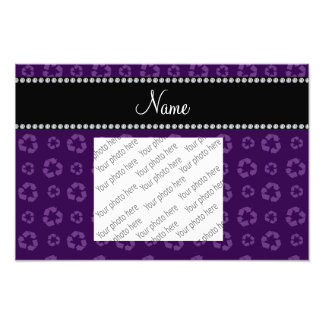 Personalized name purple recycling pattern photographic print