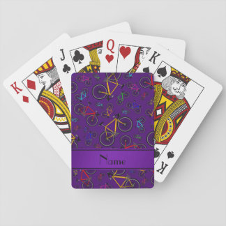Personalized name purple road bikes playing cards