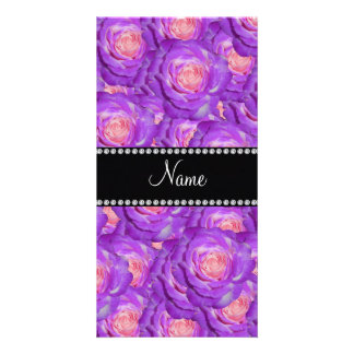 Personalized name purple roses photo card template