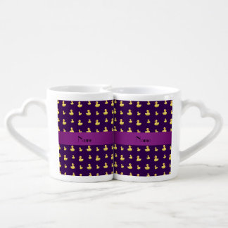Personalized name purple rubber duck pattern lovers mug