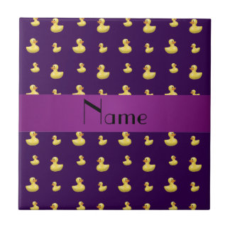 Personalized name purple rubber duck pattern small square tile
