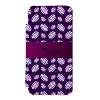 Personalized name purple rugby balls incipio watson™ iPhone 5 wallet case