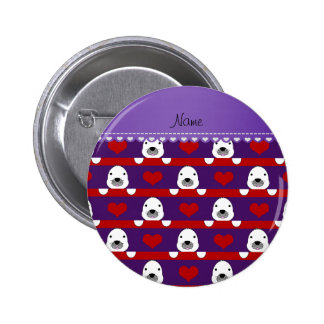 Personalized name purple seals red hearts stripes 6 cm round badge