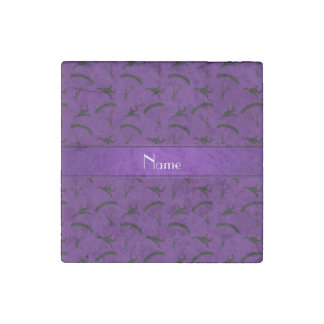 Personalized name purple skydiving pattern stone magnet