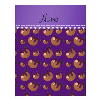 Personalized name purple sloth pattern 21.5 cm x 28 cm flyer