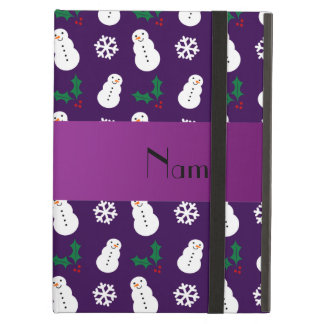 Personalized name purple snowman christmas iPad cases