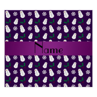 Personalized name purple snowman christmas poster