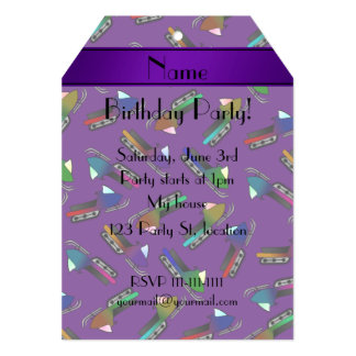 "Personalized name purple snowmobiles 5"" x 7"" invitation card"