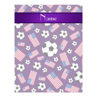 Personalized name purple soccer american flag 21.5 cm x 28 cm flyer