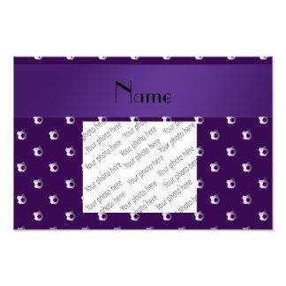 Personalized name purple soccer balls photo art
