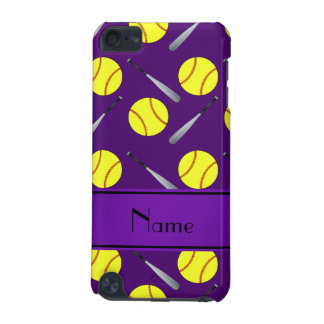 Personalized name purple softball pattern iPod touch 5G case