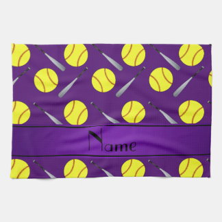 Personalized name purple softball pattern tea towel