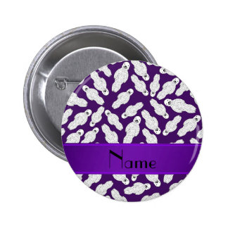 Personalized name purple spotted seal 6 cm round badge
