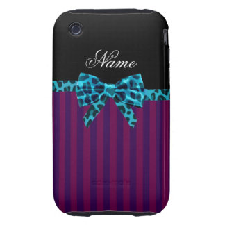 Personalized name purple stripes turquoise bow iPhone 3 tough case