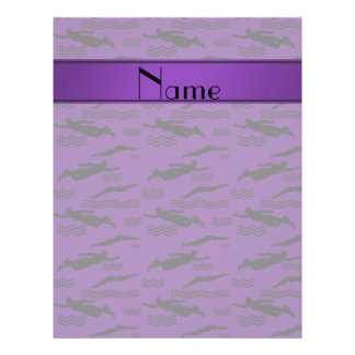 Personalized name purple swimming pattern 21.5 cm x 28 cm flyer