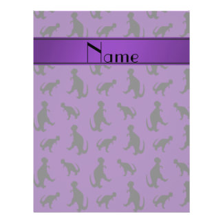 Personalized name purple trex dinosaurs 21.5 cm x 28 cm flyer