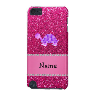 Personalized name purple turtle pink glitter iPod touch (5th generation) case