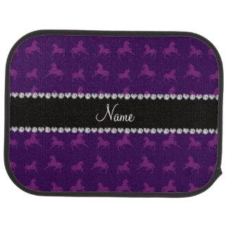 Personalized name purple unicorn pattern car mat