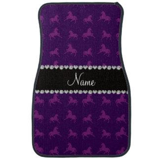 Personalized name purple unicorn pattern floor mat