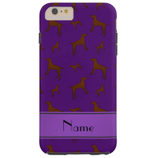 Personalized name purple Vizsla dogs Tough iPhone 6 Plus Case