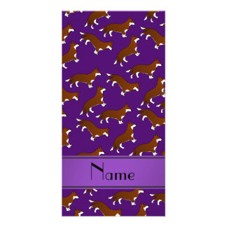 Personalized name purple welsh corgi cardigan dogs picture card