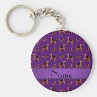 Personalized name purple Welsh Terrier dogs Basic Round Button Key Ring