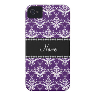 Personalized name purple white damask iPhone 4 Case-Mate case