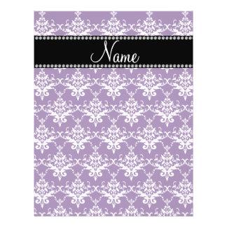 Personalized name purple white damask flyers