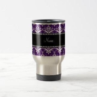 Personalized name purple white damask mug