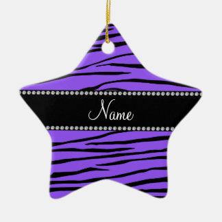 Personalized name purple zebra stripes christmas ornament