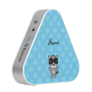 Personalized name raccoon blue snowflakes