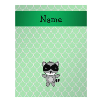 Personalized name raccoon green dragon scales 21.5 cm x 28 cm flyer