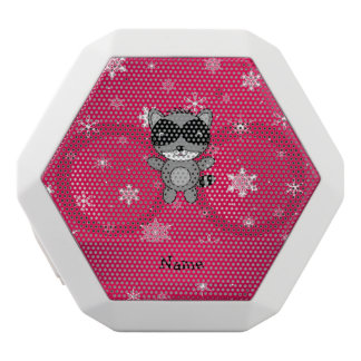 Personalized name raccoon pink snowflakes white boombot rex bluetooth speaker