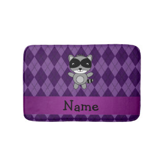 Personalized name raccoon purple argyle bath mat