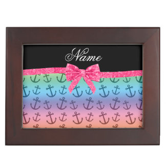 Personalized name rainbow anchors glitter bow keepsake box