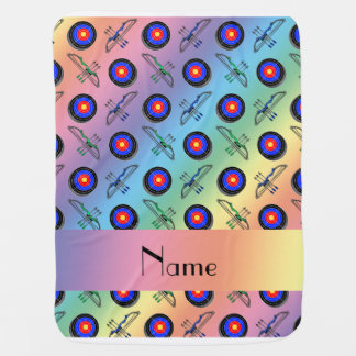 Personalized name rainbow archery stroller blankets