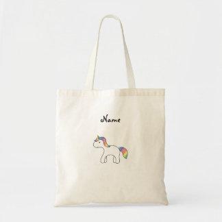 Personalized name Rainbow baby unicorn Budget Tote Bag