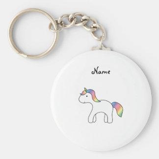 Personalized name Rainbow baby unicorn Key Ring