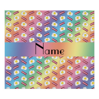 Personalized name rainbow bacon eggs poster