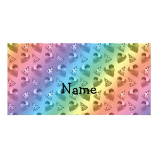Personalized name rainbow birthday pattern customized photo card